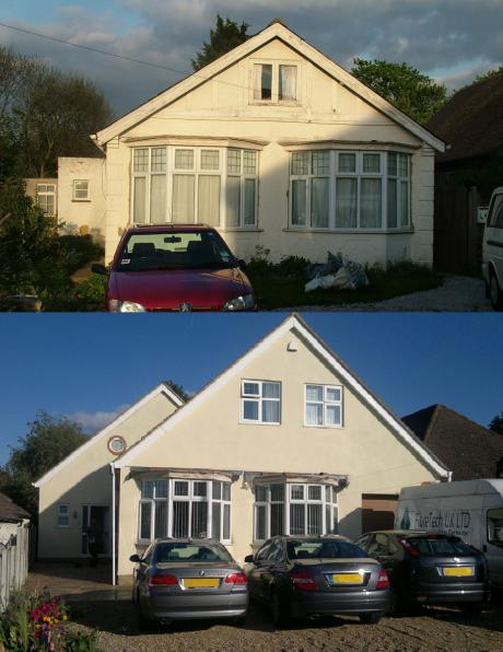 Large extension & bungalow conversion in Rochester, before & after by DKM Consultants. 260% increase in floor space.