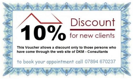 DKM Consultants offer for 2014 a 10% discount on planning drawings and building regulations
