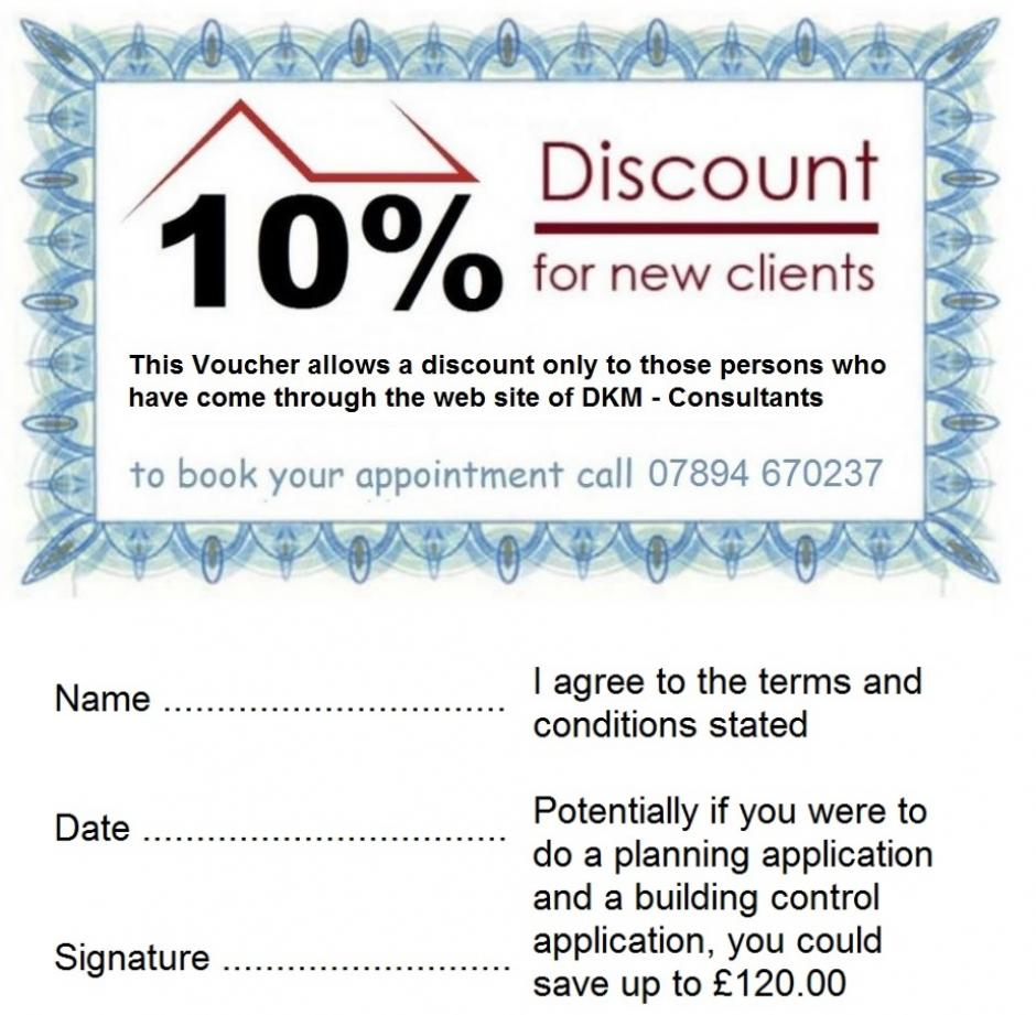 Voucher for 10% off any work over £200 at DKM Consultants