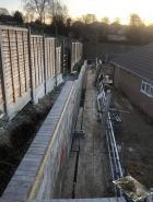 Retaining wall after the extension to protect the motor way. 36m long and 2.5m high Boxley village